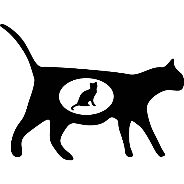 Silhouette vector image of a pregnant cat