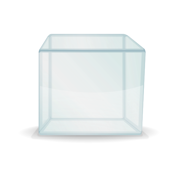 Vector image of transparent cube box