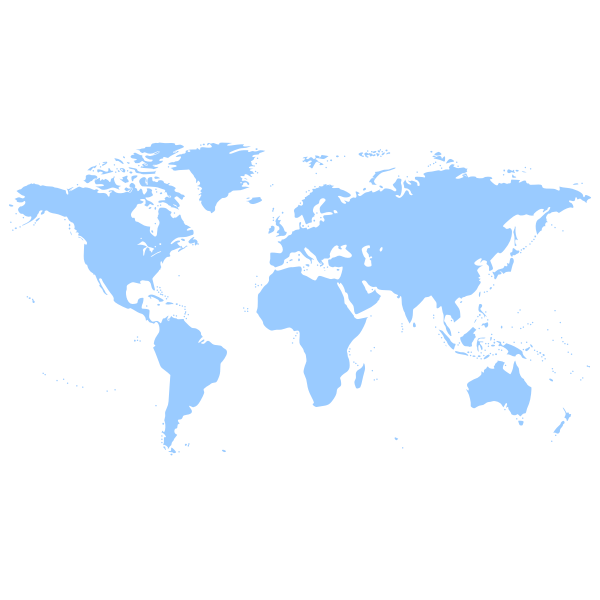 Blue silhouette vector drawing of political world map