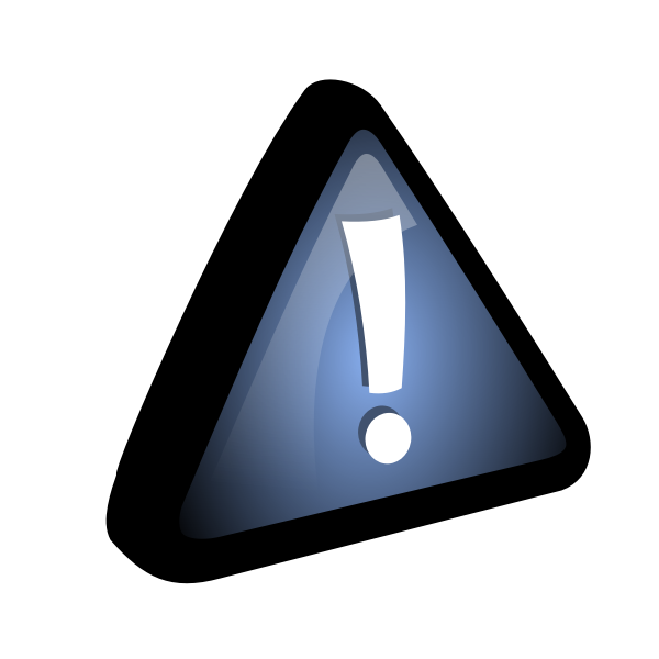 Vector drawing of exclamation mark in blue triangle