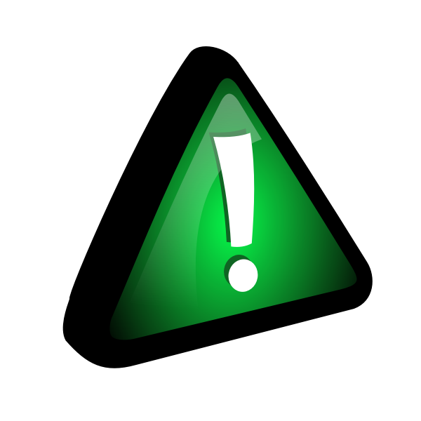 Vector drawing of exclamation mark in green triangle