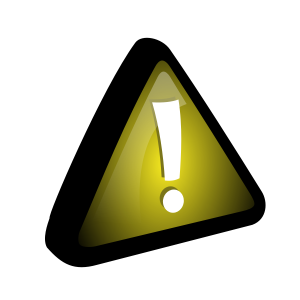 Vector drawing of exclamation mark in yellow triangle