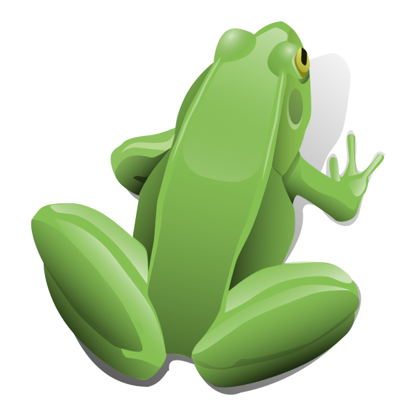 Green sitting frog vector