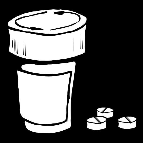 Vector clip art of pills and bottle