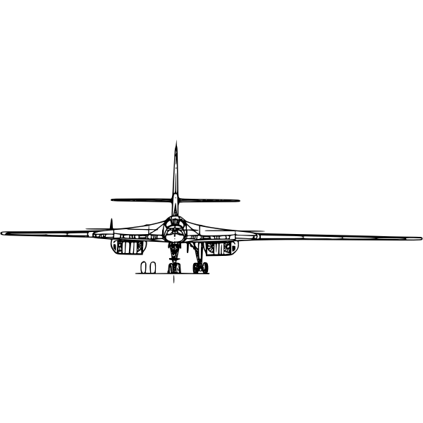 Tupolev 160 aircraft back view vector image