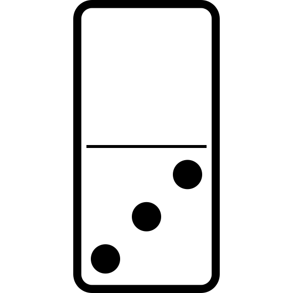 Domino tile with three dots vector drawing