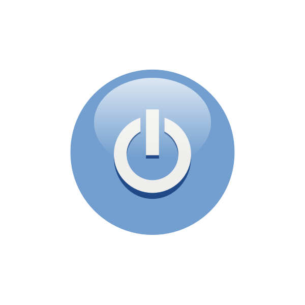 Blue power button vector graphics
