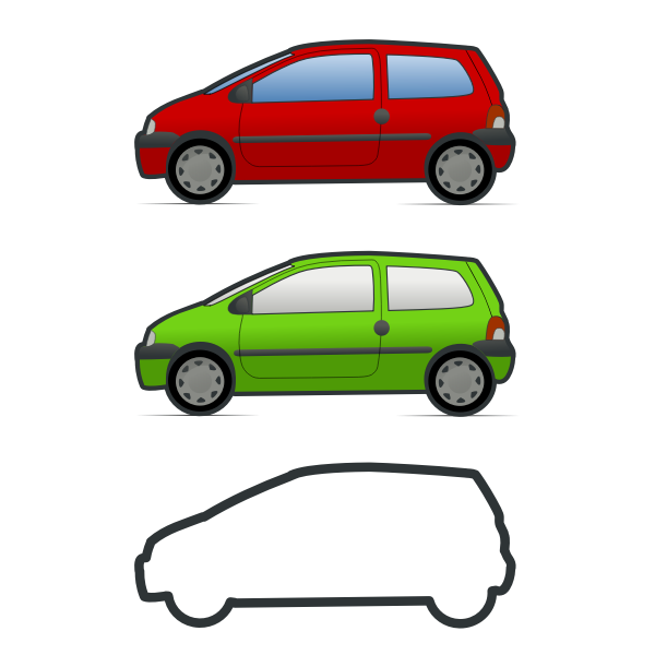 Red and green Renault Twingo vector