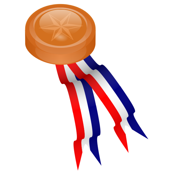 Bronze medallion with blue, white and red ribbon vector drawing