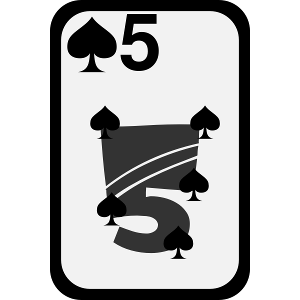 Five of Spades funky playing card vector clip art