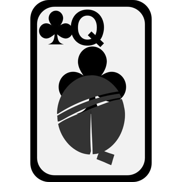 Queen of Clubs funky playing card vector image