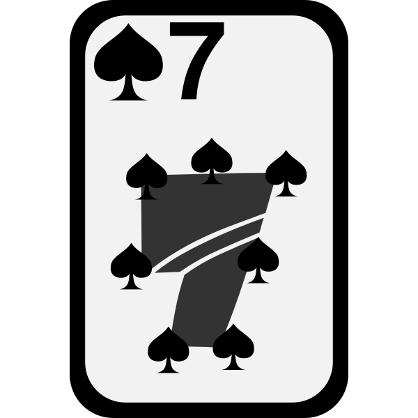 Seven of Spades funky playing card vector clip art
