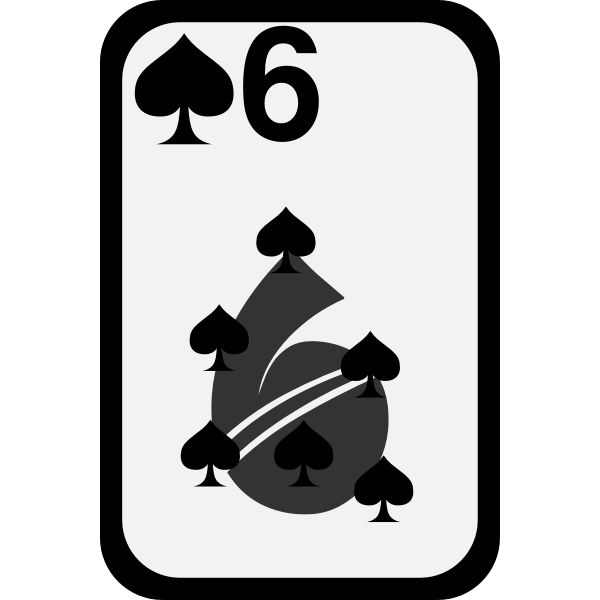 Six of Spades funky playing card vector clip art