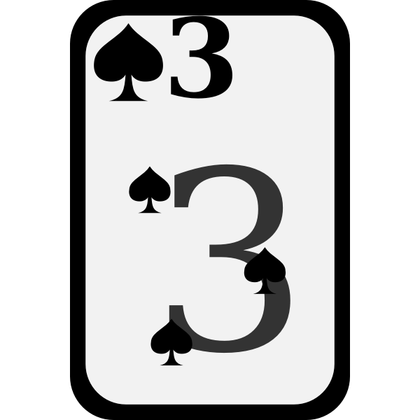 Three of Spades funky playing card vector clip art