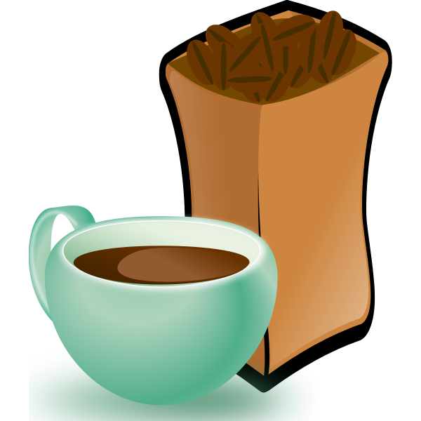 Vector image of green cup of coffee with sack of coffee beans