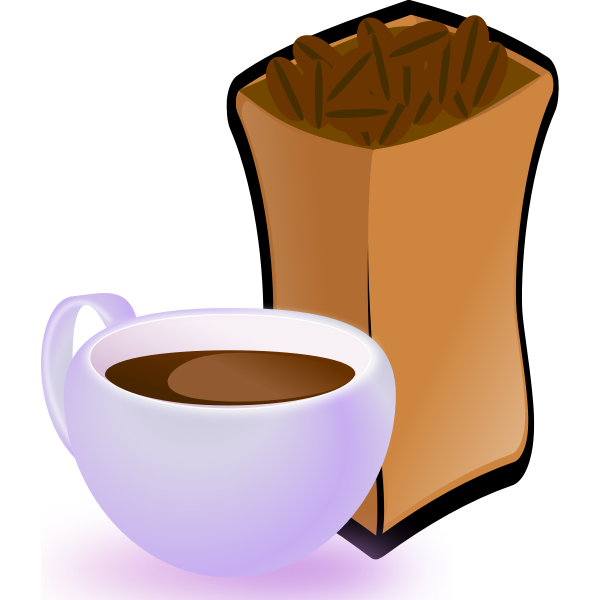 Vector image of purple cup of coffee with sack of coffee beans