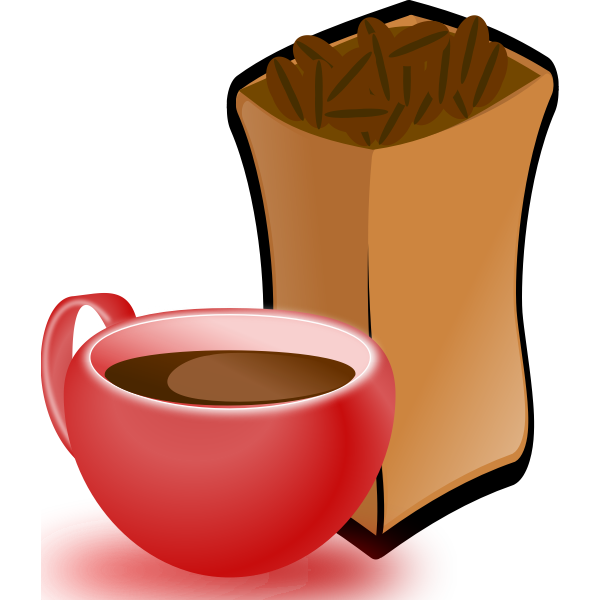 Vector image of red cup of coffee with sack of coffee beans