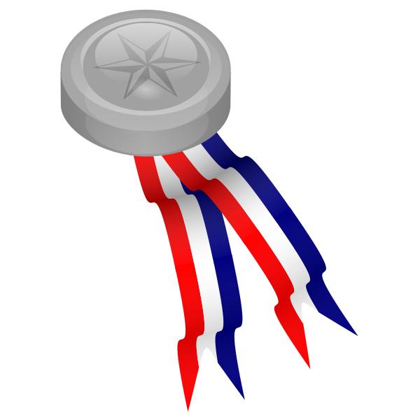 Platinum medal with blue, white and red ribbon vector clip art