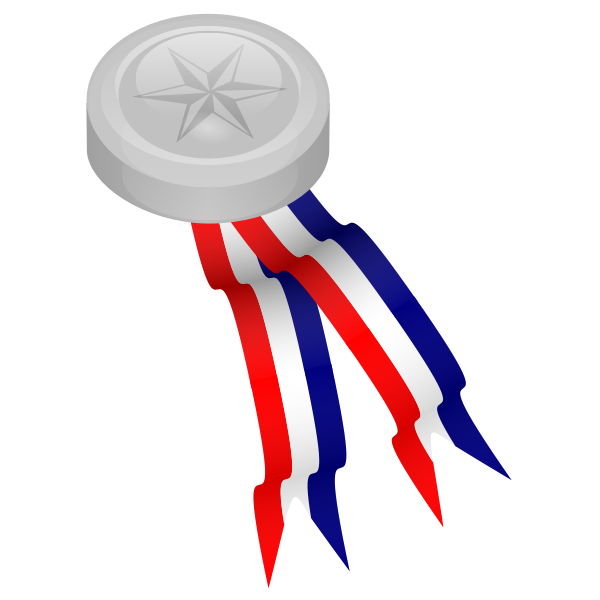 Silver medal with blue, white and red ribbon vector illustration