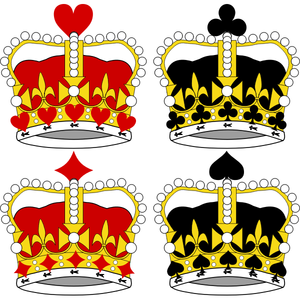 Selection of king crowns vector illustration
