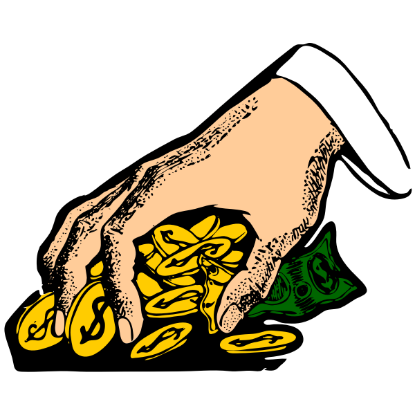 Hand grabbing money vector illustration