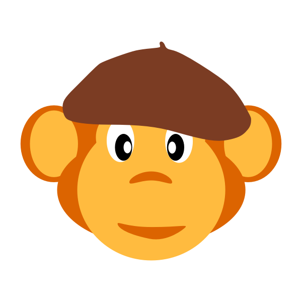 monkey with beret