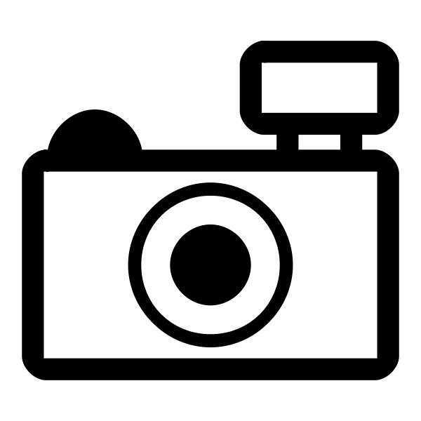 Simple photo camera outline icon vector illustration