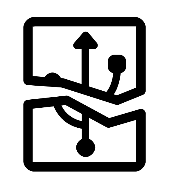 Vector graphics of broken USB plug sign