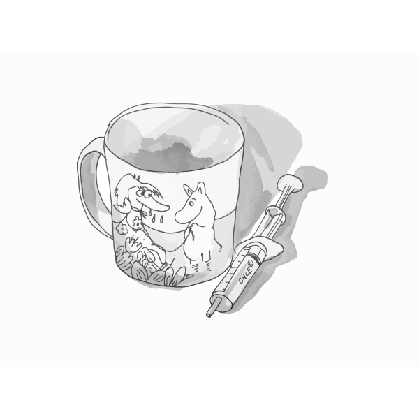 moomin cup and a syringe