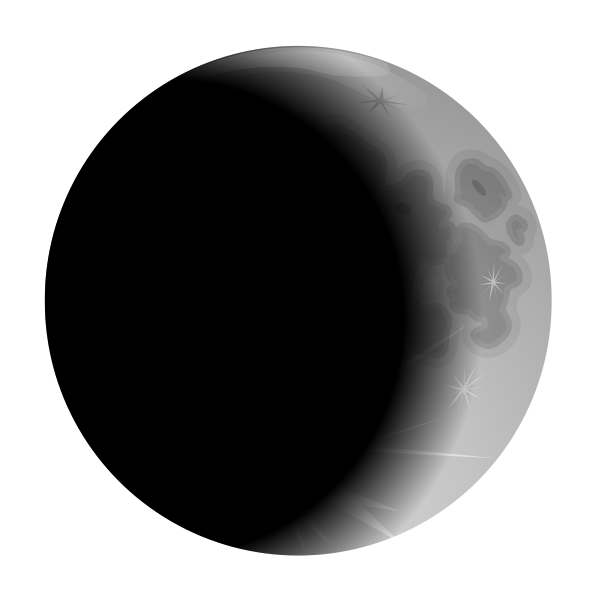 Illustration of crescent black moon