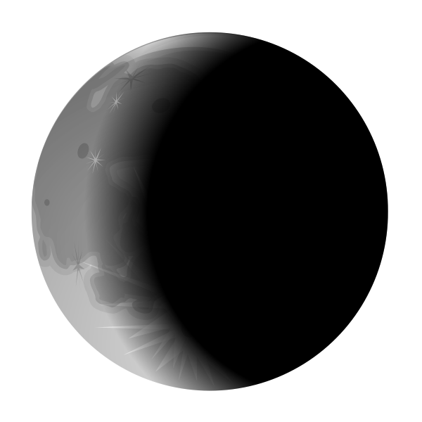 Vector clip art of left side moon crescent