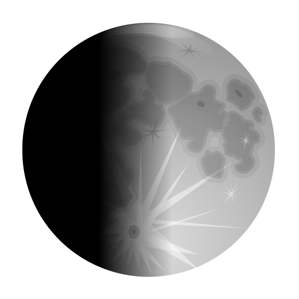 Vector clip art of half lit moon