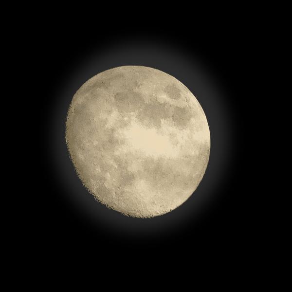 Moon on black background vector clip art