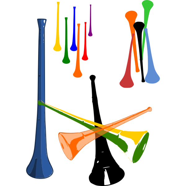 Vector illustration of plastic vuvuzelas