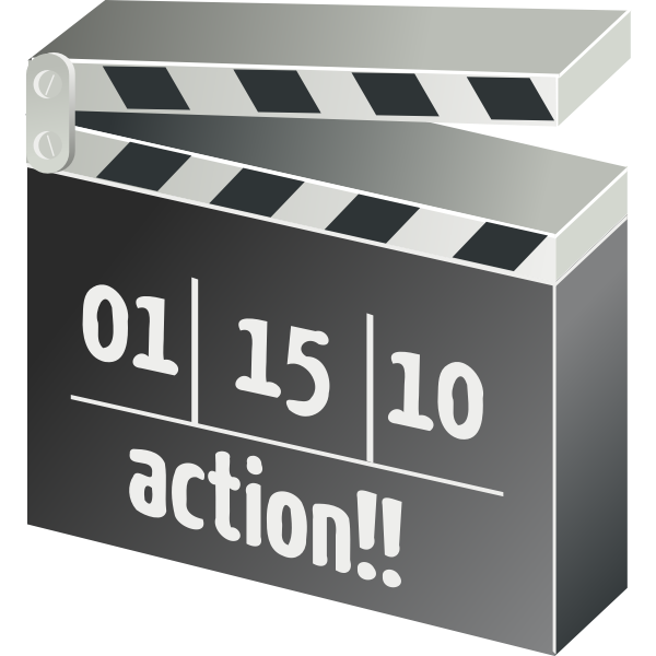 Filming action clapper board vector illustration
