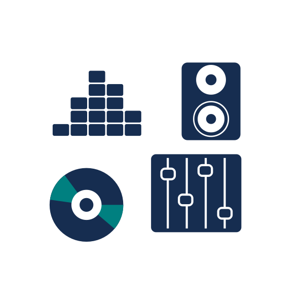 Vector image of set of blue music icons