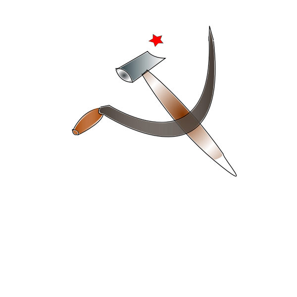 Sickle, hammer and red star vector image