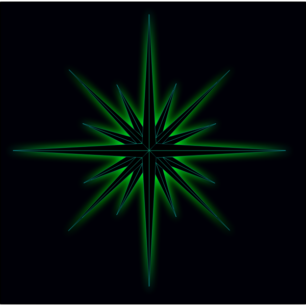 Vector illustration of glowing green star on black background