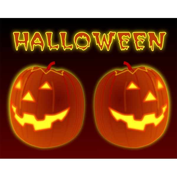 Vector clip art of two celebration pumpkins.