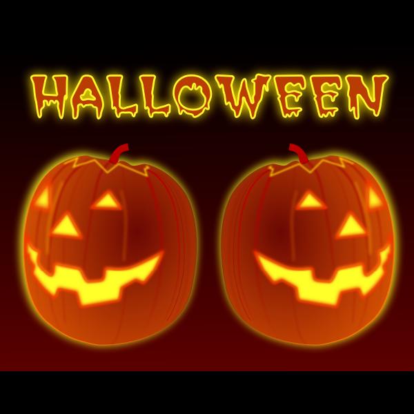 Vector clip art of two celebration pumpkins.