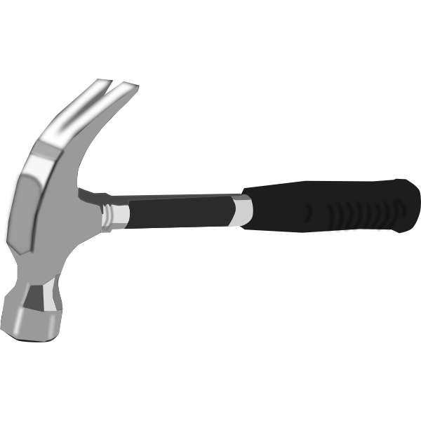Vector image of hammer with black rubber handle