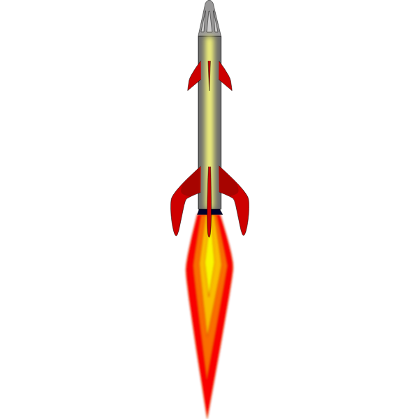 Space rocket full power flight vector drawing