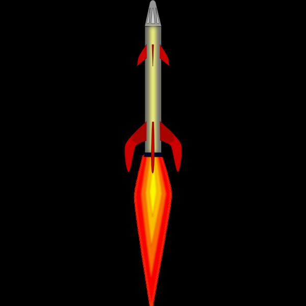 Space rocket full power flight vector drawing