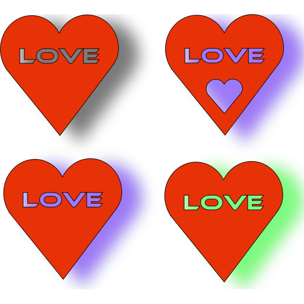Four red hearts vector image
