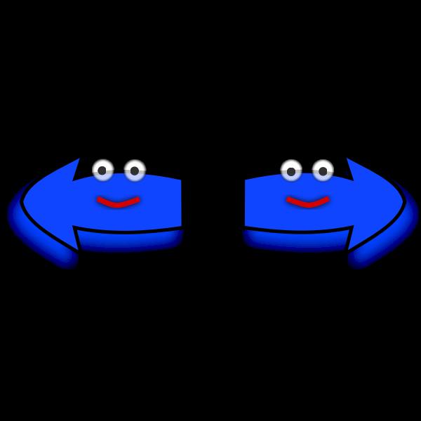 Left-Right happy arrow set vector image