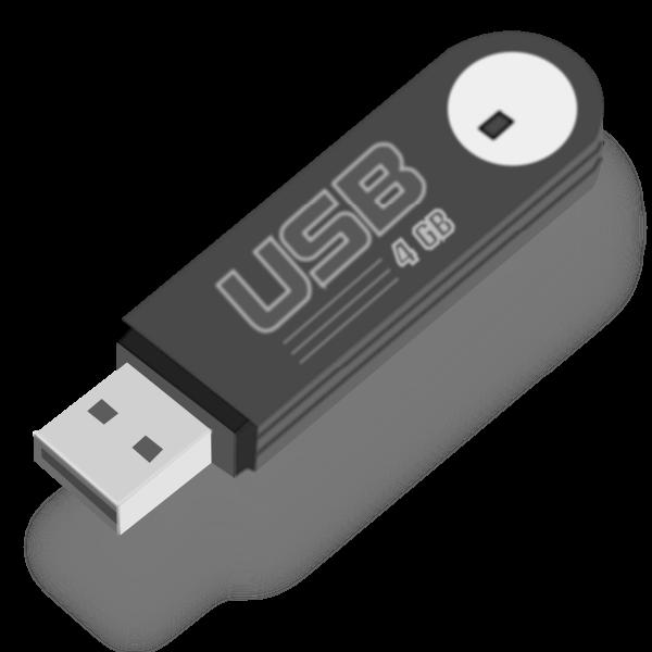 Flash USB stick with shadow vector illustration