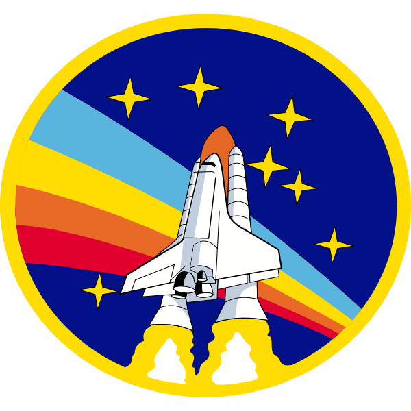 Vector graphics of rainbow rocket shuttle