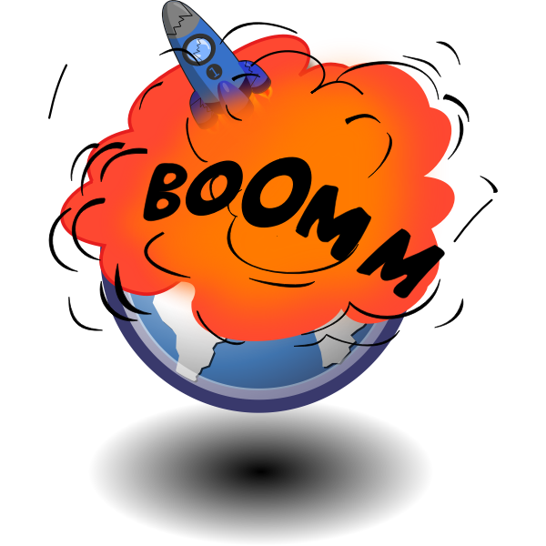 Rocket explosion at launch vector drawing