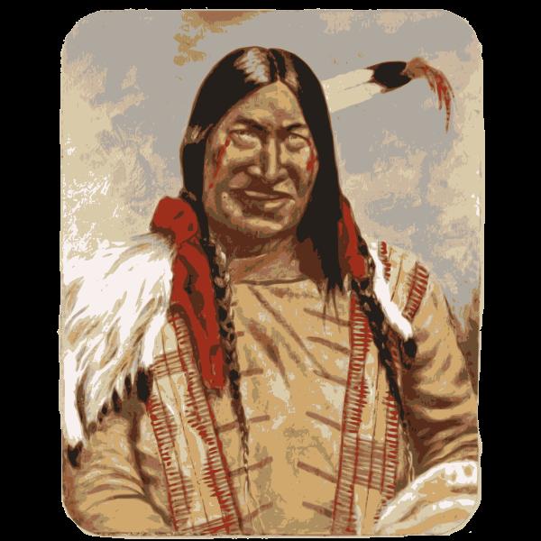 Native American man smiling vector clip art