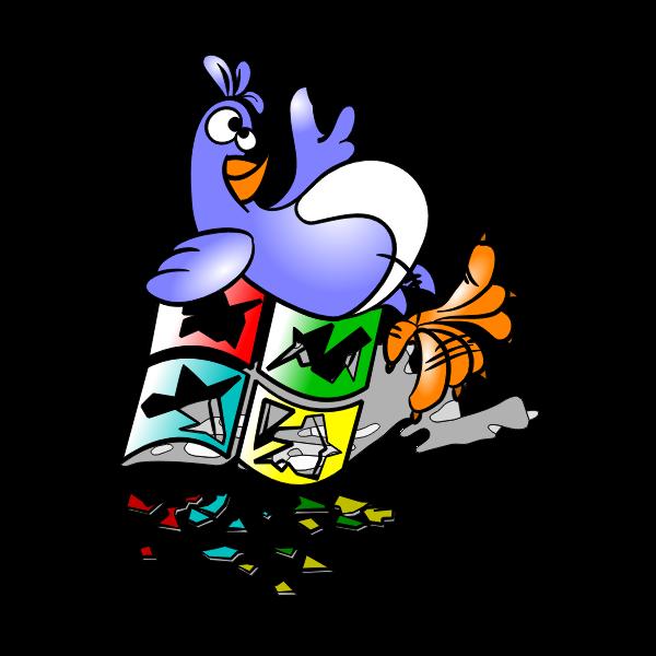 Naughty Linux on broken Windows logo vector illustration